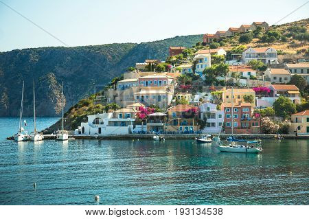 Assos is a small town on the island of Kefalonia Greece. Greek Islands cityscape.