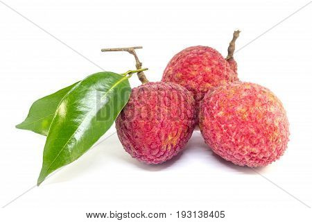 fresh fruit lychee on white background, fresh food