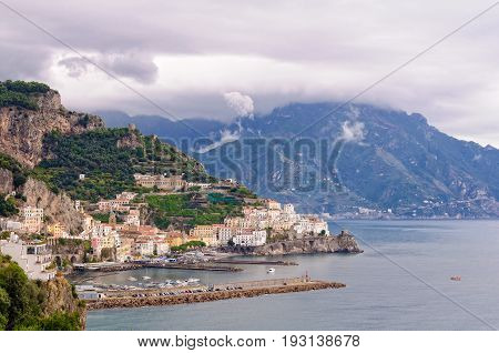 Autumn storm brings heavy dark clouds over the Amalfi Coast - Campania Italy