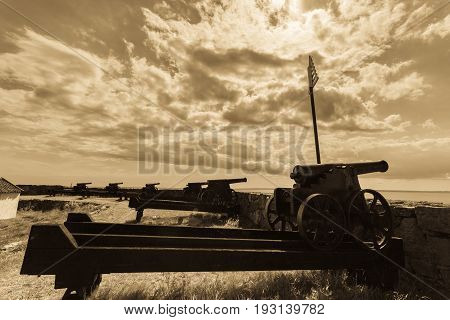 Fort Christiansoe naval fortress with cannons near island Bornholm in the Baltic Sea Denmark Scandinavia Europe.