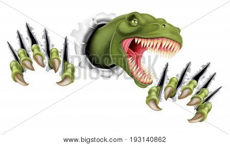A Tyrannosaurus Rex T Rex dinosaur scratching, ripping and tearing out of the background with its claws