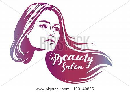 girl , beautiful woman face hand drawn vector illustration sketch