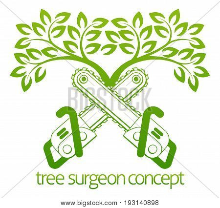 A crossed chainsaws and tree Tree Surgeon or gardener concept design