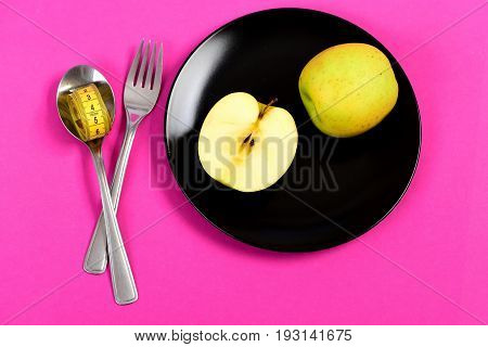 Bright Composition Of Vegetarian Food: Apple Halves And Whole Fruit,