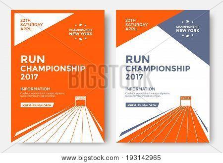 Run championship poster design template. Running marathon vector flyer. Finish line