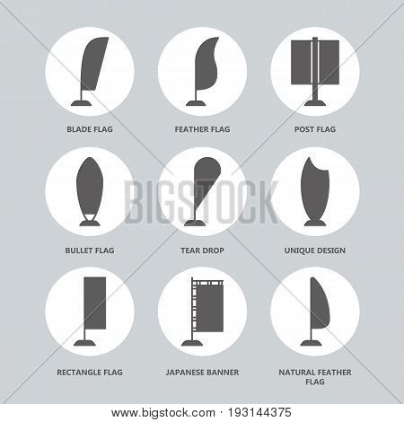 Advertising exhibition bow flags, promotion design elements flat glyph icons. Different shape types - tear drop, blade, rectangle, feather, bullet. Trade objects signs.