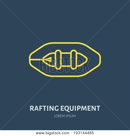 Rafting, kayaking flat line icon. Vector illustration of water sport - raft, river boat. Linear sign, summer recreation pictogram for paddling gear store.