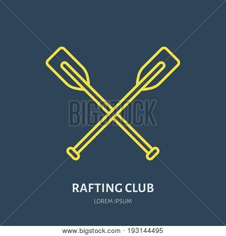 Rafting, kayaking flat line icon. Vector illustration of water sport - raft paddles. Linear sign, summer recreation pictogram for river paddling gear store.