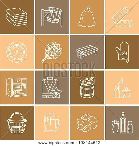 Sauna, steam bath line icons. Bathroom equipment birch, oak birch, bucket. Hammam, japanese, finnish, russian, infrared sauna sign. Spa relaxation accessories bathrobe, essential oils thin linear sign