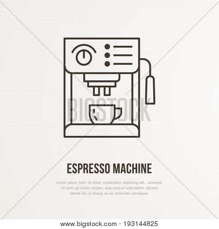 Coffee espresso machine vector flat line icon. Barista equipment linear logo. Outline symbol for cafe, bar, shop.