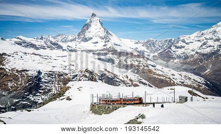 ZERMATT, SWITZERLAND - May 16. 2017: Gornergrat railway in Zermatt with the amazing Matterhorn in the background, Switzerland