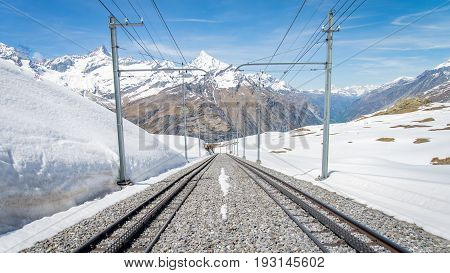 ZERMATT, SWITZERLAND - May 16. 2017: Gornergrat railway in Zermatt