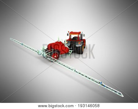 Watering Of Crops By Tractor 3D Render On Gray Background