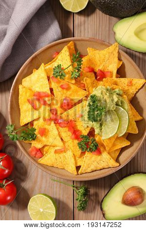 tortilla chip with guacamole