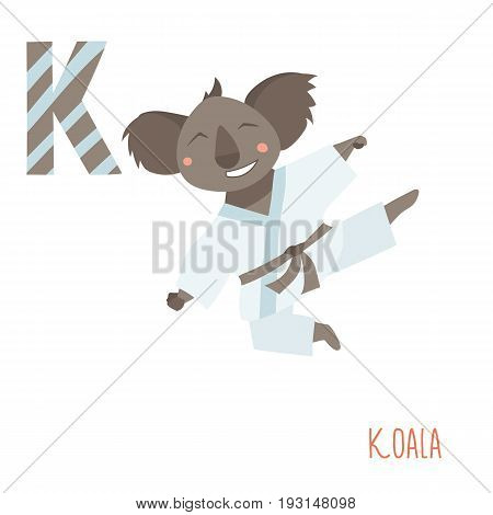 Vector kids illustration of cute animal alphabet. Letter K for the Koala and Karate . Cartoon little koala jumping in karate moves isolated on white background for child illustration, baby shower, birtday card, invitiation, T-shirt. Preschool and school r