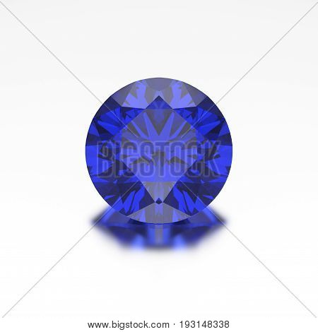 3D illustration closeup sapphire diamond with reflection on a grey background