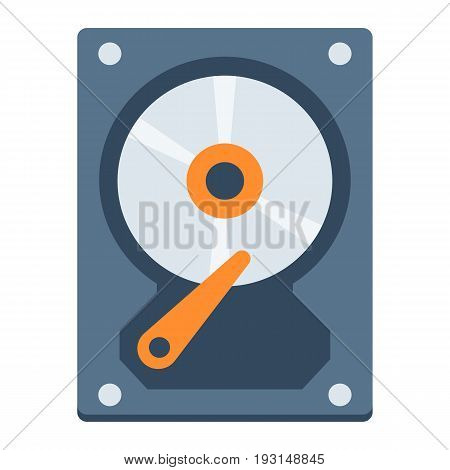 Hard disk flat icon, hardware and hdd, vector graphics, a colorful solid pattern on a white background, eps 10.