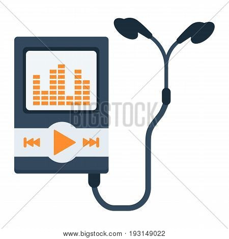 Music player flat icon, mp and device, vector graphics, a colorful solid pattern on a white background, eps 10.