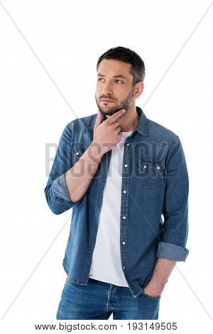 Portrait Of Pensive Man With Hand On Chin Looking Away Isolated On White