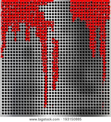 metallic silver colored background with holes and red streaks