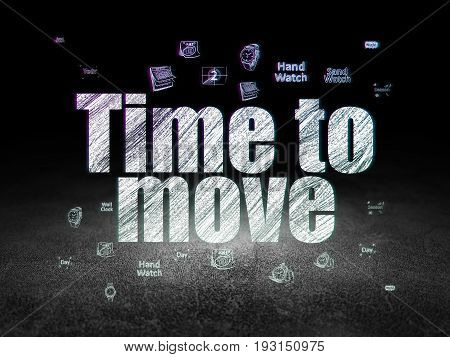 Time concept: Glowing text Time to Move,  Hand Drawing Time Icons in grunge dark room with Dirty Floor, black background