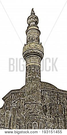 The minaret of the Murat Reis mosque in the cemetery of Rhodes Greece (on the white background)