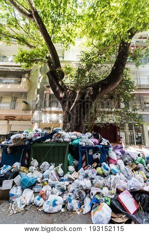The Streets Of Thessaloniki Are Filled With Garbage