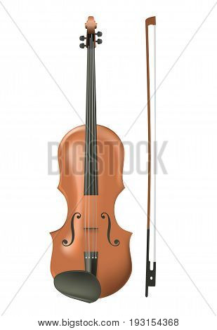 Realistic wooden violin isolated on white background.