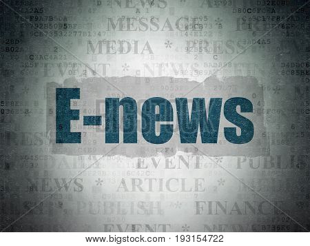 News concept: Painted blue text E-news on Digital Data Paper background with   Tag Cloud