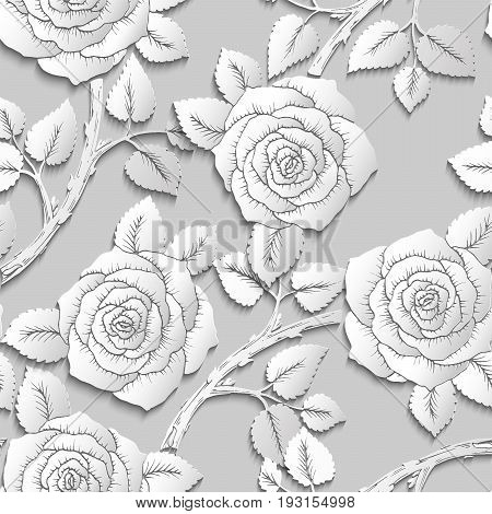 Paper Cut Art Flower Background Seamless Pattern. Origami Rose Flowers On Branches. Vector Stock Ill