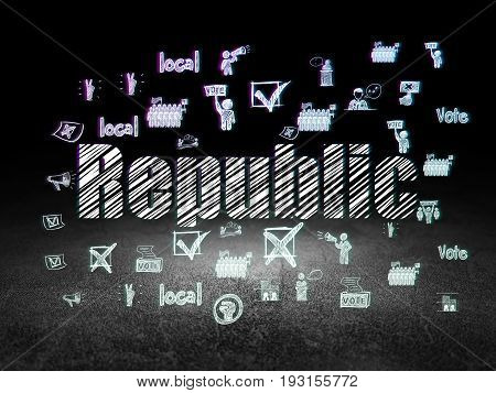 Political concept: Glowing text Republic,  Hand Drawn Politics Icons in grunge dark room with Dirty Floor, black background
