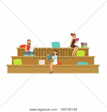 Freelancers working in creative space, coworking people vector Illustration isolated on a white background