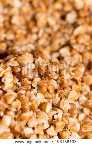 buckwheat groats as background. close . A photo
