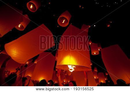 Floating lantern in Yee Peng festival (Loy Krathong), Buddhist floating lanterns to the Buddha in Sansai district CHIANG MAI THAILAND