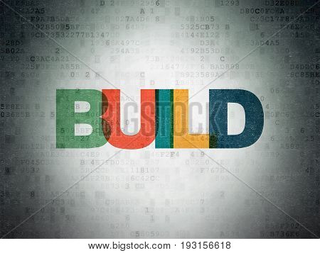 Building construction concept: Painted multicolor text Build on Digital Data Paper background