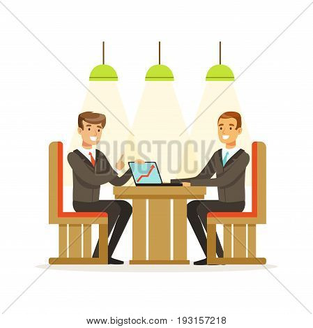 Coworking people exchanging ideas and experience at business meeting sitting at a cafe vector Illustration isolated on a white background