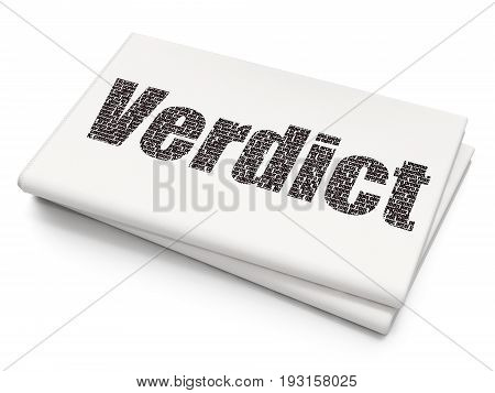 Law concept: Pixelated black text Verdict on Blank Newspaper background, 3D rendering