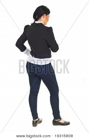 Back Of Business Woman Thinking