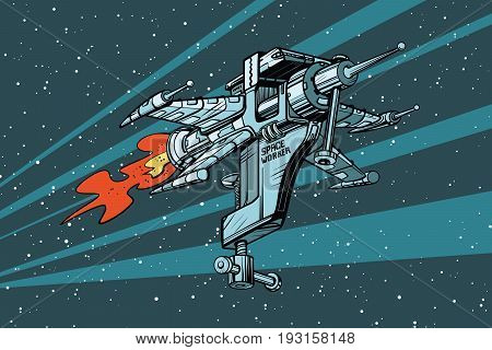 Star working space ship of tools. Pop art retro vector illustration