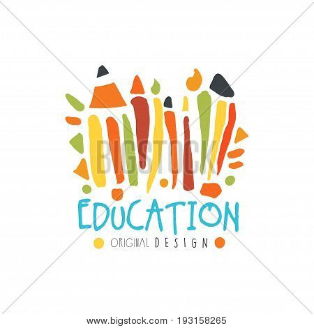 Education label original design, back to school logo graphic template colorful hand drawn vector Illustration