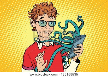 teen and octopus in the smartphone, danger online. Viruses and hackers. Internet addiction. Pop art retro comic book vector illustration