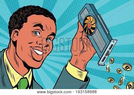African American businessman is mining bitcoins with a video card. Pop art retro comic book vector illustration