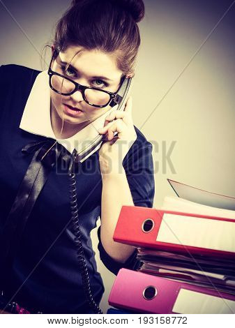 Angry Bossy Businesswoman Phone Talking