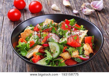 Fattoush Or Bread Salad In Bowl