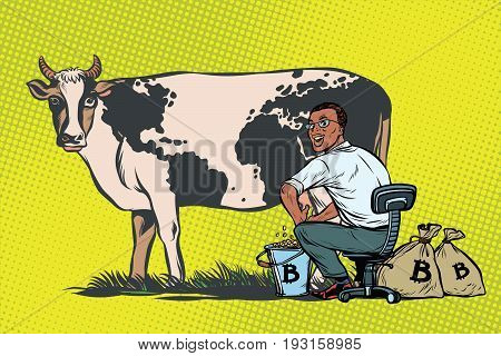 African businessman mines bitcoins milking a cow, world business. Pop art retro comic book vector illustration