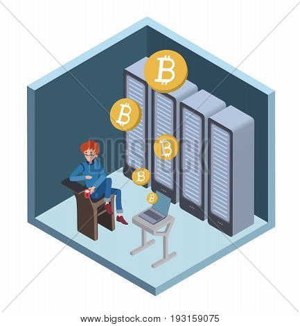 Mining bitcoin concept. Young man sitting at the computer in the server room. Cryptocurrency mining farm. Vector cartoon illustration in isometric projection.