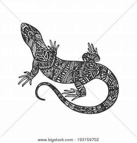 Isolated hand drawn black outline monochrome abstract ornate lizard on white background. Ornament of curve lines. Page of coloring book