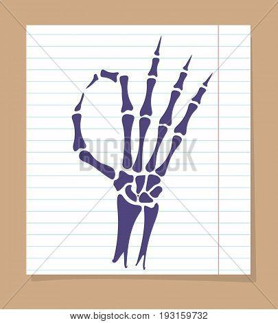 Skeleton hand sign. Vector OK sign of skeleton hand on linear page