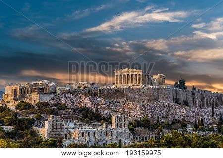 Parthenon Acropolis of Athens, late afternoon before sunset