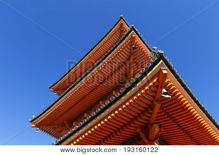 Detail of structure and roof tile of Kiyomizu-dera pagoda In the clear sky in autumn Kyoto Japan